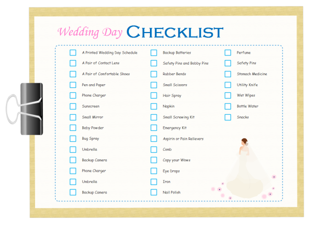 Wedding Day Checklist | Free Wedding Day Checklist Templates