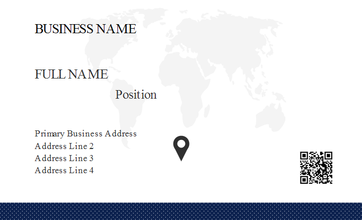 World Map Business Card Template