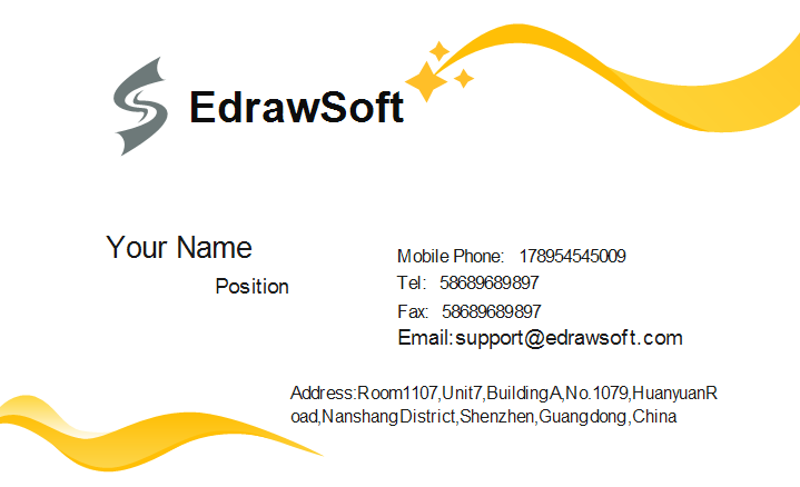 Yellow Curve Business Card Template