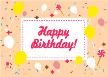 Balloons and Candies Birthday Card Template