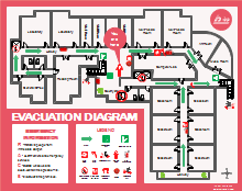 Colored Evacuation Plan