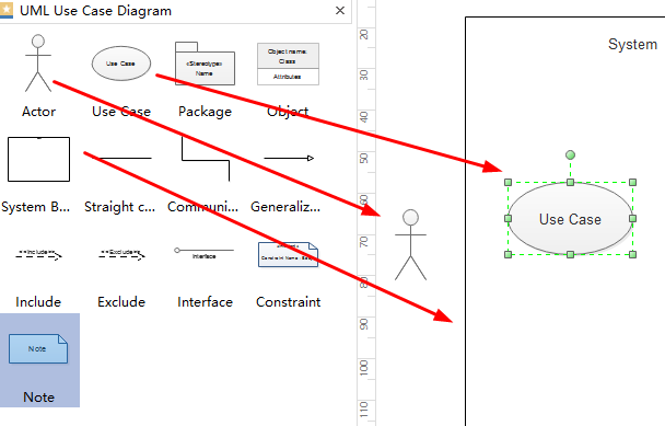 Drag Use Case Diagram Shapes